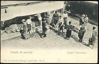 Photogravure postcard - CANDIE (le marche) - CRETE - no date - stamp missing.