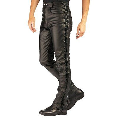 Men's Real Cowhide Leather Bikers Laces Up Pants Laces Up Bikers Trousers