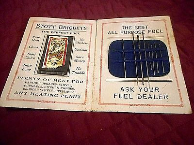 Queen Victoria Sewing  Kit Advertising Stott  Briquets, The Perfect Stove Fuel