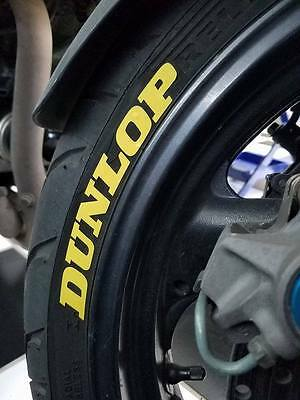 Dunlop yellow tire stickers , tire decals, tire lettering for MX bikes