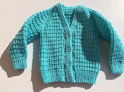 Hand Knitted Button Cardigan Very Small Baby Age.