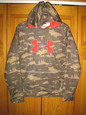 Under Armour Storm1 Cold Gear camo hoodie sweatshirt YXL green hunting outdoors