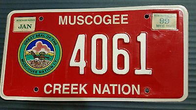 1999 Oklahoma 4061 Muscogee Creek Nation Tribal License Plate
