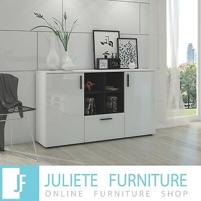 Sideboard Cabinet Modern Living Room Furniture set, Cupboard TV UNIT WHITE GLOSS