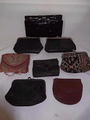 Large lot of Antique Vintage Purses Wallets and Change Wallets - Beaded  Leather