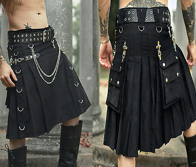 Mens Gothic Kilt Traditional Scottish Goth Utility Kilt Punk Rock Custom Kilt
