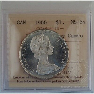 1966 Silver Dollar Canada ICCS MS-64 - Lge Beads Heavy Cameo