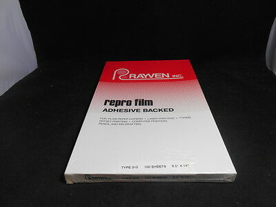 "NOS 100 8.5x14 Sheets Rayven 310 8.5 x 14"" Repro Film Adhesive Backed"