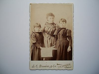 Antique Cabinet Photo by L.E. Desmarais Quebec Canada c-1880 Family