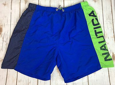 15ad40fe2404a Vintage Nautica Swim Trunk Men Medium Green Sailing Comp Mesh Spell Out 90s  Logo