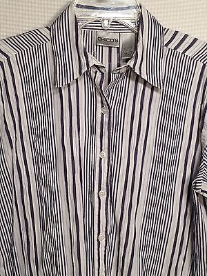 CHICO'S Shirt~Womens Size 2 Blue /White Striped Ladies Top Casual Career