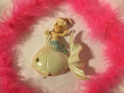 Vintage Mermaid And Fish Hanging Wall Plaque. Beautiful!