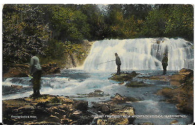 Vintage Fishing For Trout In A Mountain Stream Washington Postcard