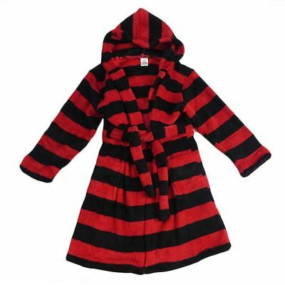 Boys or Girls Size 10 Hooded Red & Black Dressing Gown Robe New