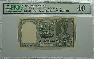 1943 (ND) India Reserve bank 5 Rupees, Pick# 23a, PMG 40, Conservatively Graded