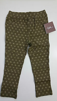Tea Collection NWT sz 3 Juhi Moto pants Herb India Line Green think fabric