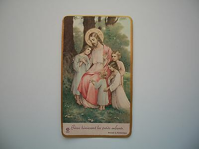 Antique Holy Card of Jesus Blessing Childrens no.727