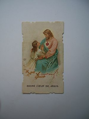 Antique Holy Card of Sacred Heart Jesus with Child *smaller size*