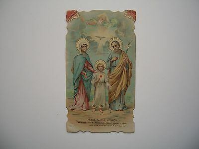 Antique Holy Card of the Holy Family Jesus Mary Joseph with God