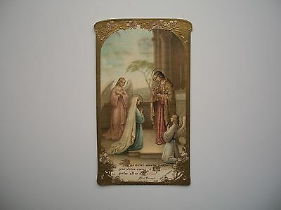 Antique Holy Card Embossed Virgin Mary Communion Bouasse no.1069