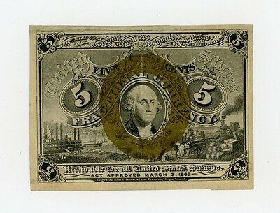 2nd Issue Fr.1233 5c United States Fractional Currency Note AU