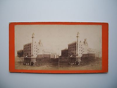 Antique Stereoview by L.P. Vallée Wolfe's Monument and Jail Quebec City Canada