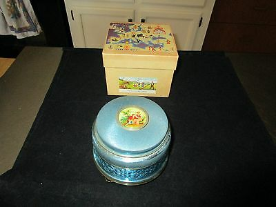 Vintage Rouge Powder Puff Music Box W/provenance & Orig. Box