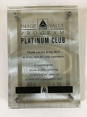 CITGO Gas Station Award Plaque PLATINUM CLUB Beveled Glass & Alloy Counter Sign