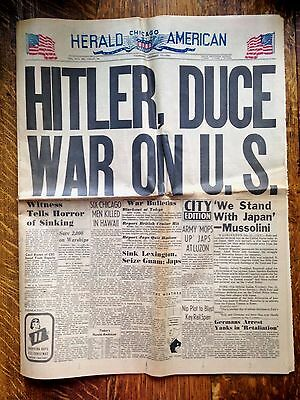 COLOR !! Attack Pearl Harbor Newspaper December 11, 1941 Chicago Herald American