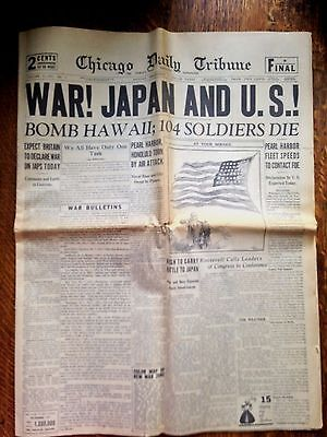 Attack on Pearl Harbor Newspaper December 8, 1941 Chicago Daily Tribune