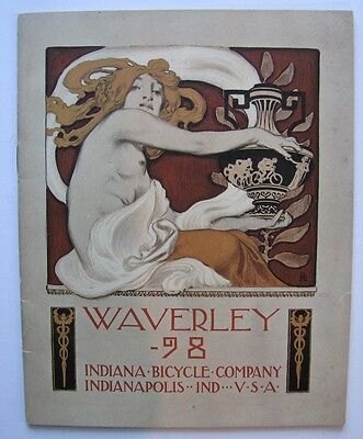 Rare 1898 Waverly Indiana Bicycle Catalog Leyendecker Nude Cover Art 26 Pgs