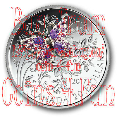2017 - Canada - Bejeweled Bugs #1 - Butterfly - $20 Pure Silver Coloured Coin