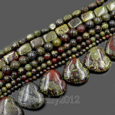 """Natural Dragon Bloodstone Gemstone Round Loose Beads 15.5"""" 4mm 6mm 8mm 10mm"""