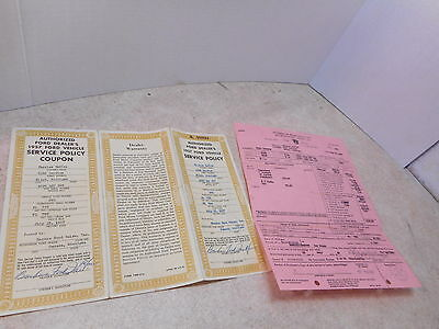 1957 Ford Custom Car Dealer Invoice, Backus Ford, Owosso, MI w/ Service Policy