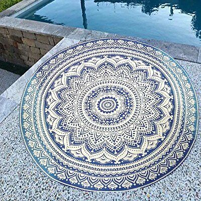Blue Round Indian Hippie Boho Tapestry Beach Picnic Throw Towel Mat Blanket