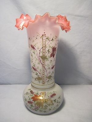 Early East Lake Frosted Glass Hand Painted Floral Design Ruffled Edge Pink Vase