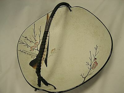 Vintage Unusual Occupied Japan G in wreath Mark Unusual Bowl  cherry blossoms
