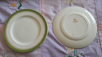 Alfred meakin 2 side plates green and gold