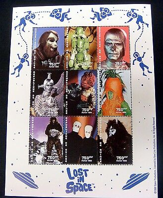 Republic De Guinee Lost In Space Stamps Sheet Of 9 Science Fiction Sci-Fi Lis9