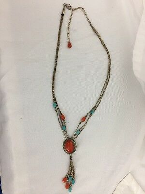 Carolyn Pollack Sterling Silver Southwest Turquoise Coral Charm Necklace Q.T.