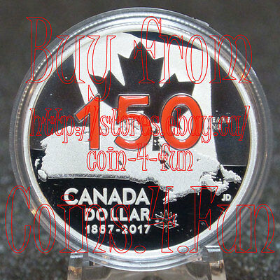2017 - Canada 150 - Our Home and Native Land - Enameled $1 Pure Silver Dollar