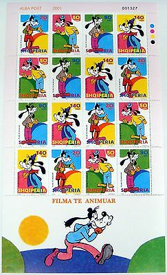 DISNEY STAMPS FROM ALBANIA Goofy Sheet of 16, 4 Sets of 4 Film Animation-SC 2643