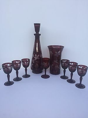 9 Piece Cranberry Cut to Clear Set - Decanter Wine Glasses & Matching Vase