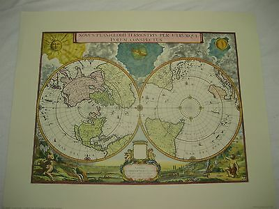 Vtg '65 Penn Prints Reproduction of Global Map w/No & So Pole by Gerard Valck