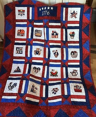Handmade Forth of July Quilt/Wall Hanging Embroidered Patriotic Squares Flag New