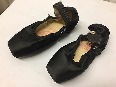 Handmade Black  Ballet Pointe Shoes  Good Condition Size 4 1/2 X