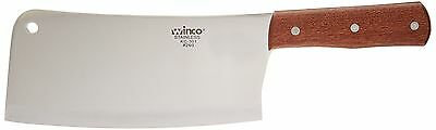 "Winco 8"" Heavy Duty Chinese Cleaver with Wooden Handle 1"