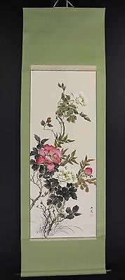 """CHINESE HANGING SCROLL ART Painting """"Flowers"""" Asian antique  #E5927"""