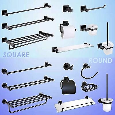 Round/Square Towel Rail Rack Toilet Paper Roll Holder Tissue Robe Hook Black