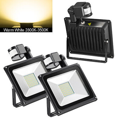 2X 50W PIR Motion Sensor Warm White LED Flood Light Outdoor Lamp Floodlight 240V